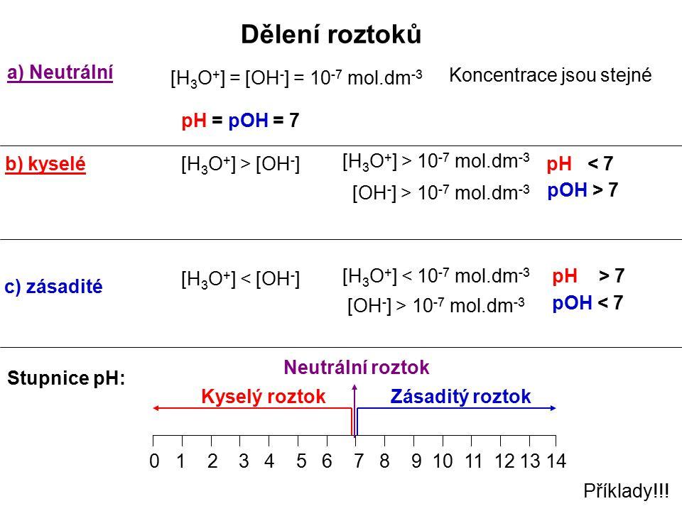 Dělení roztoků a) Neutrální [H3O+] = [OH-] = 10-7 mol.dm-3